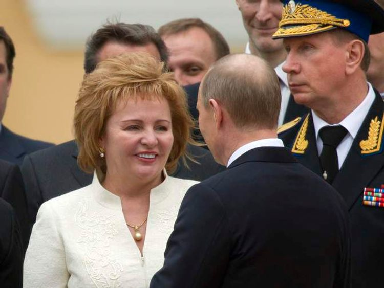 New Russian President Vladimir Putin greets his wife Lyudmila after an inauguration ceremony in Cathedral Square at the Kremlin in Moscow