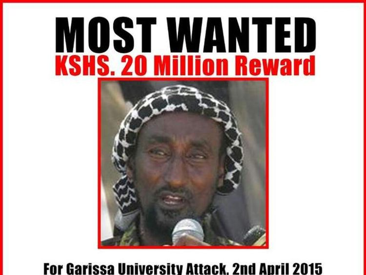 Wanted poster of Mohamed Mohamud aka Dulyadin aka Gamadhere who is thought to be the mastermind of the university attack in Garissa. Pic: Kenyan Interior Ministry