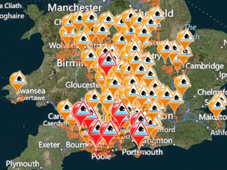 Flood warnings and alerts in England and Wales