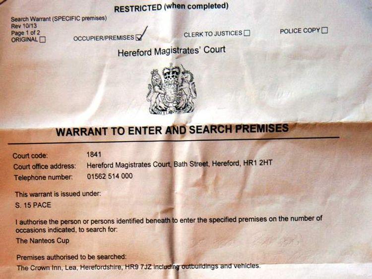 Nanteos Cup warrant