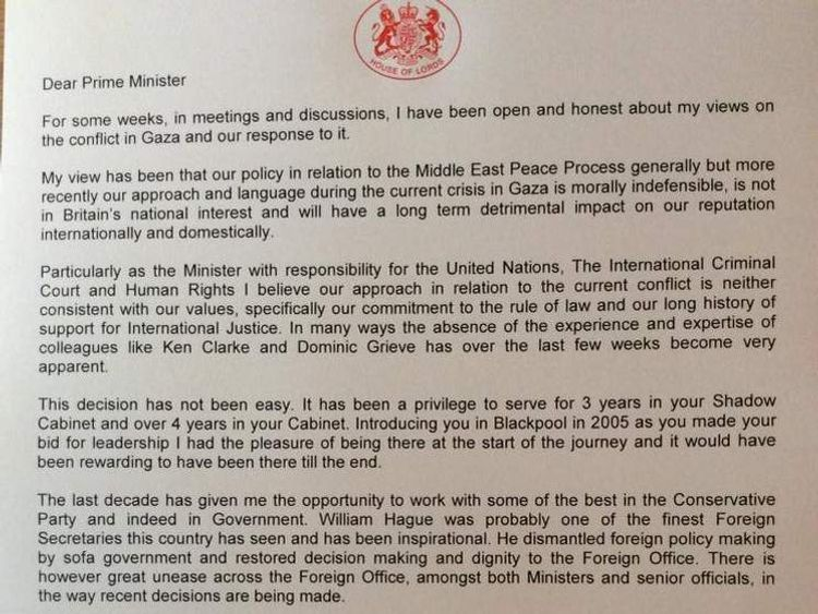 Letter of resignation by Baroness Warsi over Gaza stance