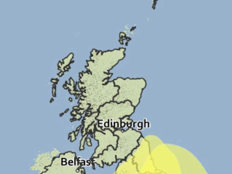 A map showing weather warnings in place for England and Wales