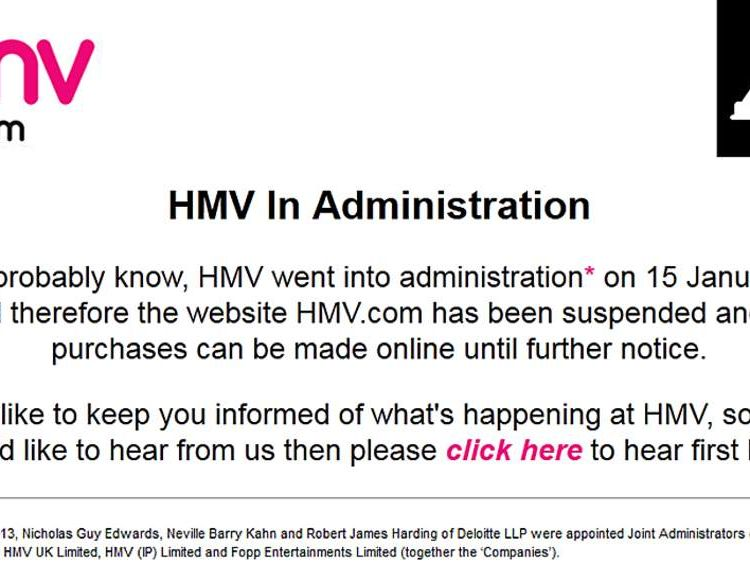 HMV website in administration