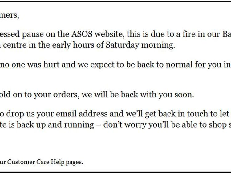 The ASOS website saying sales have been suspended