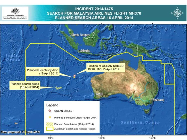 The areas being searched for flight MH370 on Wednesday, April 16.