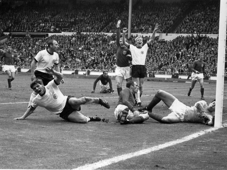 West Germany's Wolfgang Weber equalises against England in the 1966 World Cup final.
