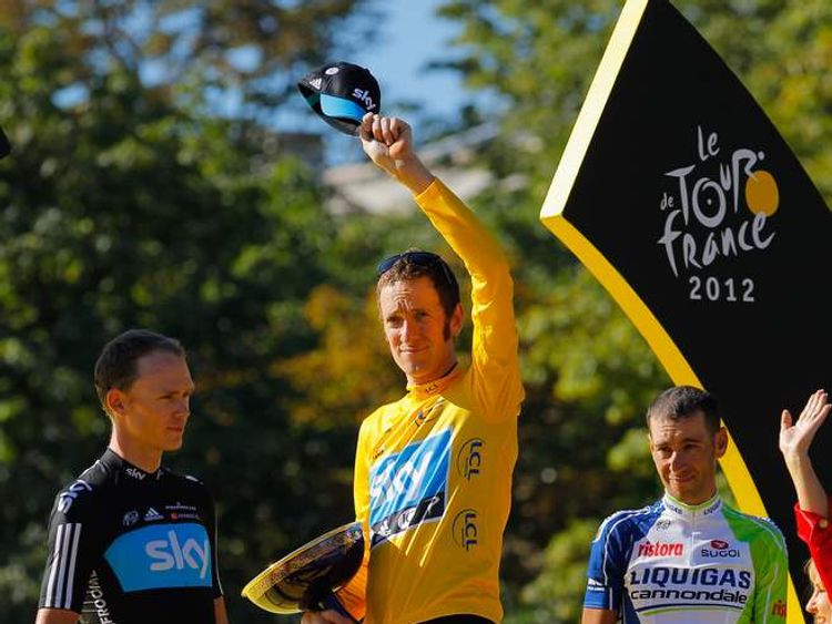 220712 Bradley Wiggins (C), Chris Froome (L) and Vicienzo Nibali (R)