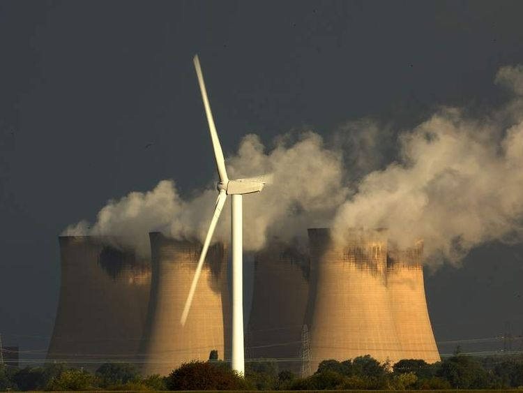 wind turbines and chimneys