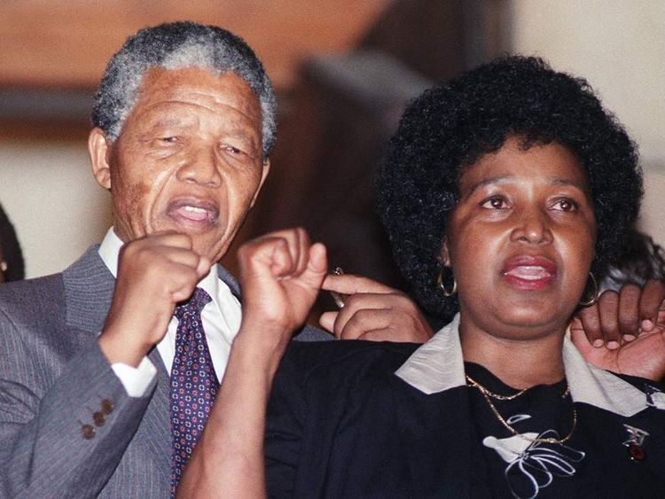 Nelson and Winnie Mandela in February 1990
