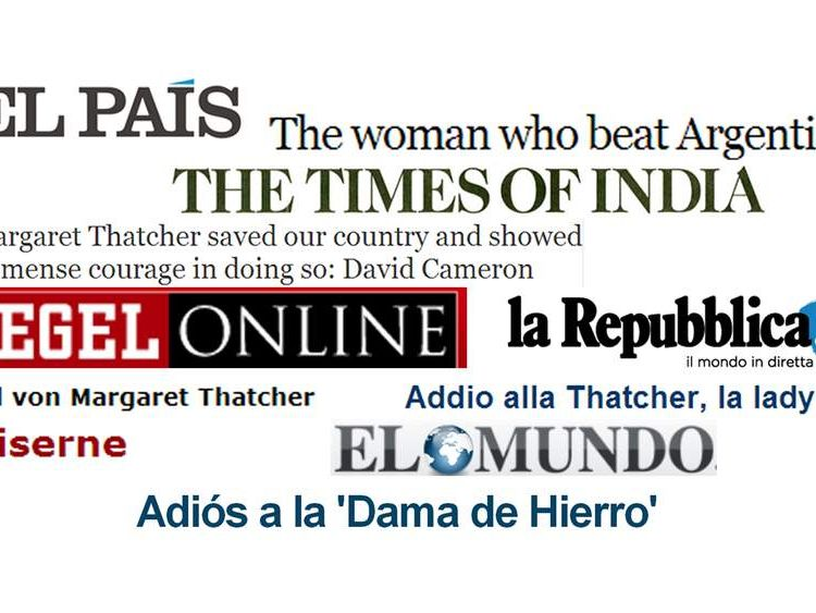 USE: Thatcher headlines from around the world