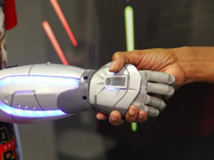 Superhero-themed bionic hands and arms for children