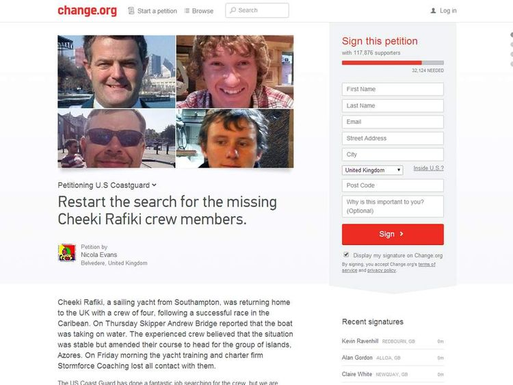 Some 117,000 people have signed an online petition, calling for the US Coastguard to resume its search for the Cheeki Rafiki