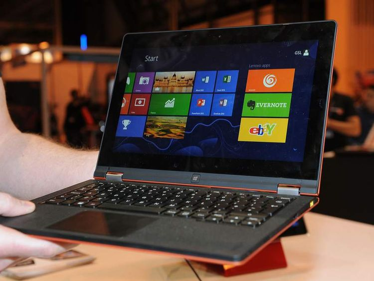 Lenovo Yoga convertible laptop and tablet  on display at the Gadget Show Live 2013 at the NEC, Birmingham