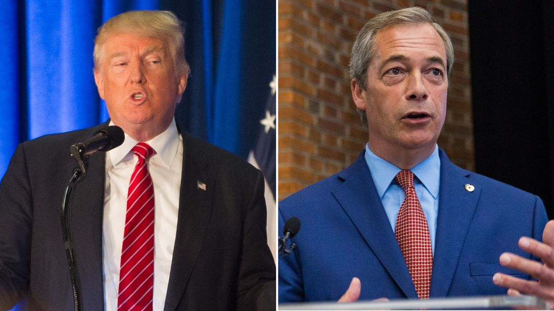 Donald Trump (L) and Nigel Farage