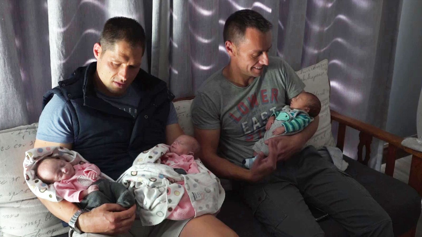 Christo and Theo Menelaou with their triplets