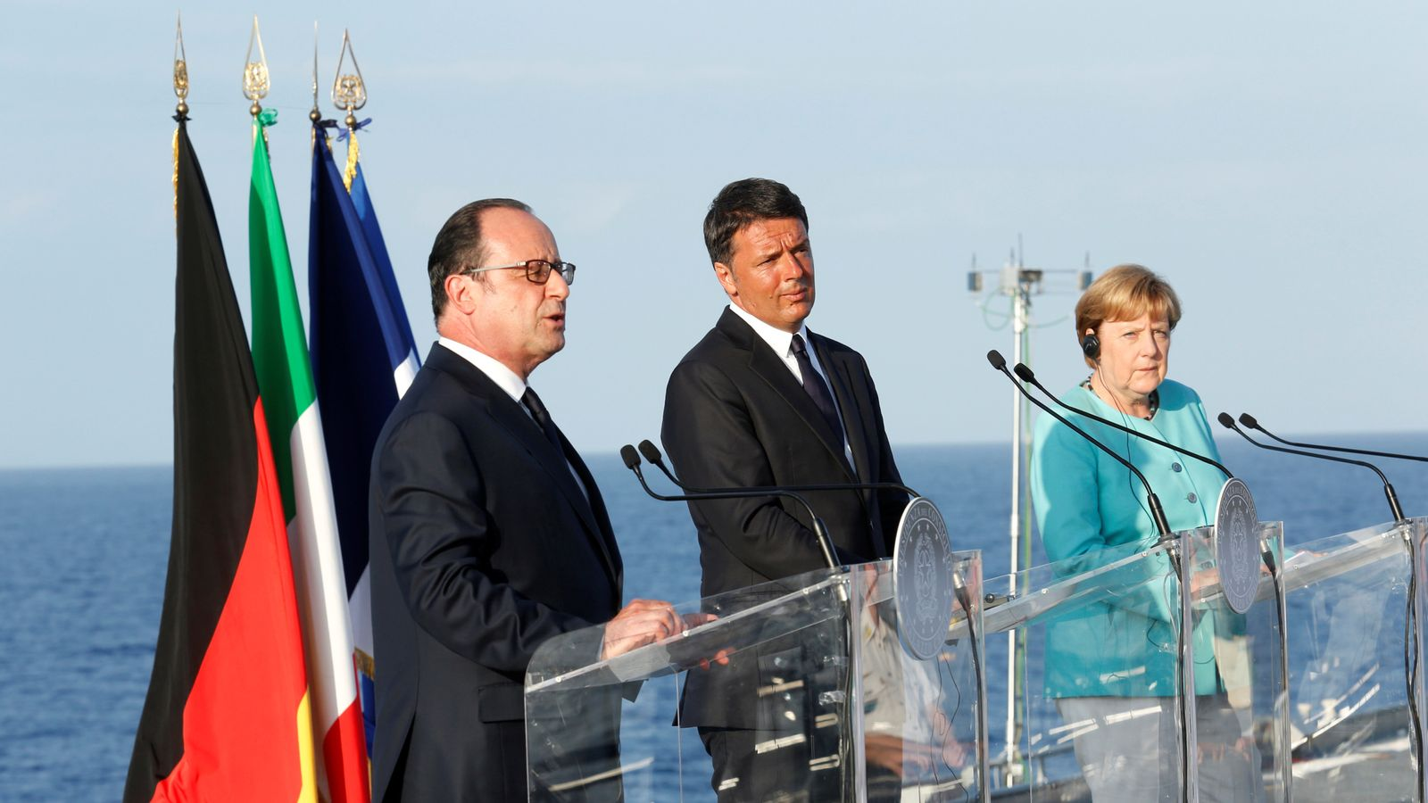 Francois Hollande, Matteo Renzi and Angela Merkel
