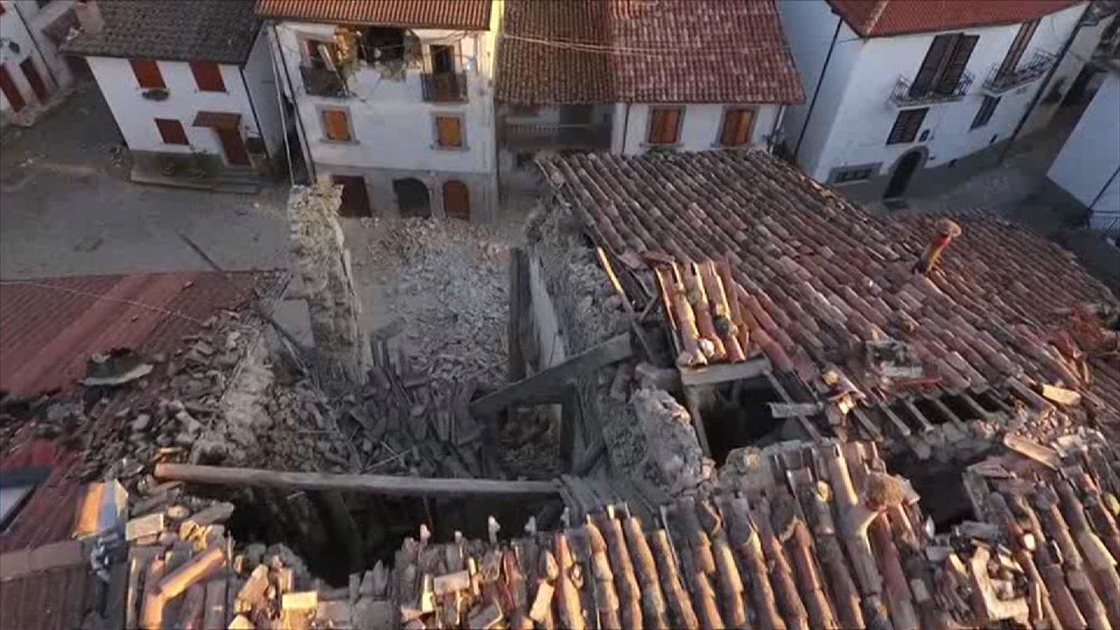 Aerial footage of Armatrice following the earthquake