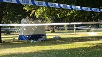 The scene in Hyde Park, London, after a body was discovered