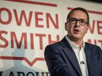 Labour leadership contender Owen Smith delivers a speech in Wales