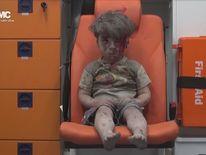 Omran Daqneesh, a Syrian child injured in an airstrike in Aleppo