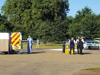 Police at the scene in Hyde Park, London, after a body was discovered
