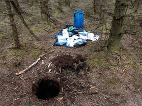 The ammunition was discovered in barrels buried in holes at Capanagh Forest