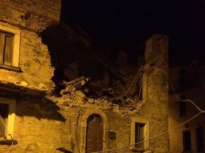 Buildings have been damaged in the town of Amatrice