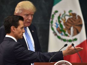 US presidential candidate Donald Trump (R) and Mexican President Enrique Pena Nieto in Mexico City