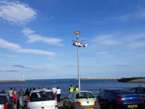 A search and rescue operation was launched after the dinghy was spotted. Picture: John Newman