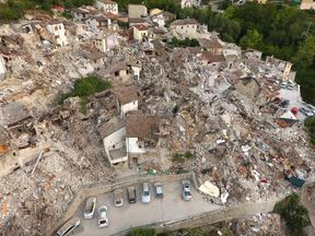 A drone photo shows the damages following an earthquake in Pescara del Tronto, central Italy