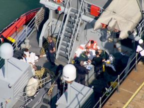 A search and rescue helicopter and the Border Force cutter were scrambled
