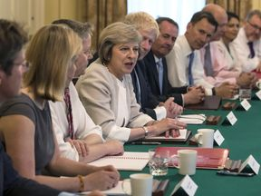 Theresa May attends a cabinet meeting. File picture