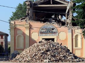 Many buildings were destroyed in the city of Modena in 2012