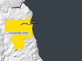 Map showing Sunderland coastline