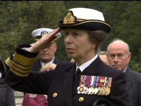 Princess Anne at a ceremony marking the 75th anniversary of the Arctic shipping convoys