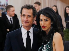 Former US Representative Anthony Weiner and wife Huma Abedin arrive at a New York gala in May 2016