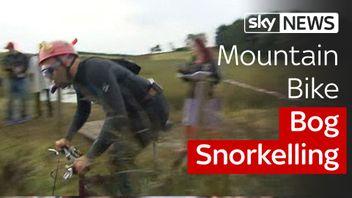 Bog snorkelling on a mountain bike