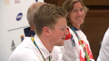 Adam Peaty was all smiles at a news conference back in London