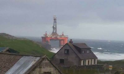 Oil Rig Blown Ashore During Severe Storm