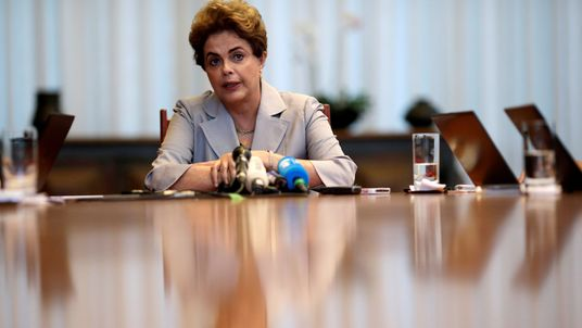 Suspended Brazilian President Dilma Rousseff at a news conference with foreign media  in Brasilia