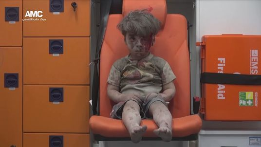 Omran Daqneesh, a Syrian child injured in an airstrike in Aleppo