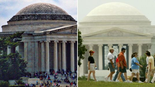 The Jefferson Memorial (left) in March 2016 and (right) in 2003