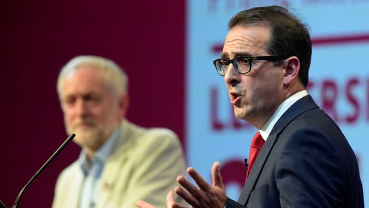 Owen Smith debates with Jeremy Corbyn at the second Labour Leadership Debate at the Hilton Hotel in Gateshead, England