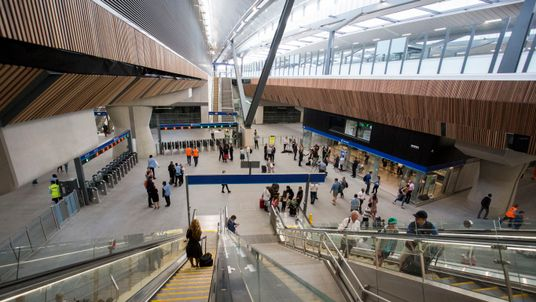 People try out the new concourse and platforms at London Bridge