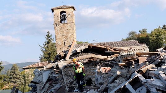 A major clean-up operation is under way in Amatrice