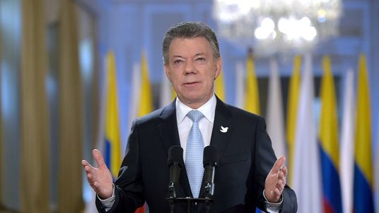 Colombia's President Juan Manuel Santos addresses the nation