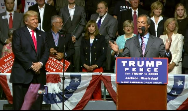 Nigel Farage Appears On Stage With Donald Trump