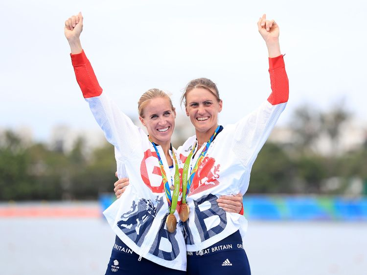 Great Britain's Helen Glover (left) and Heather Stanning (right) celebrate winning gold in the Women's Pair Final