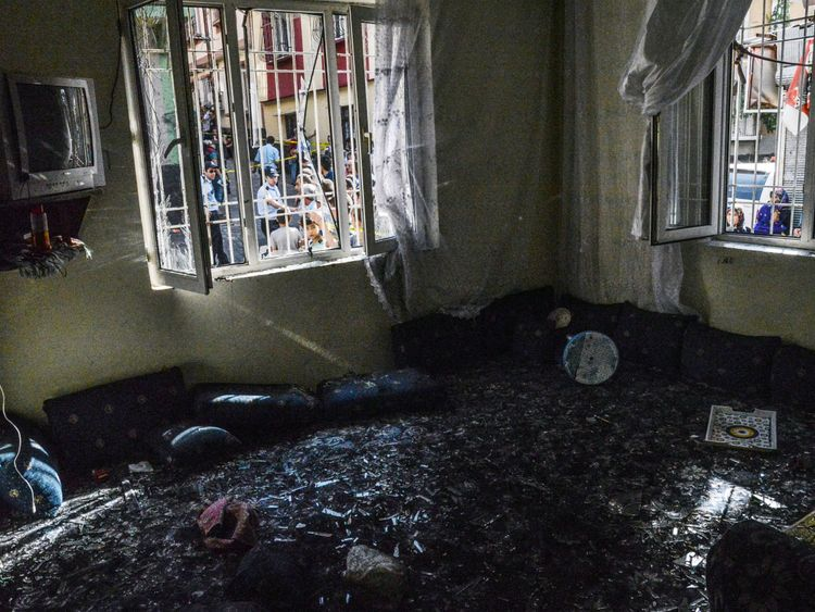 The scene of a bomb attack on a wedding in Gaziantep, Turkey