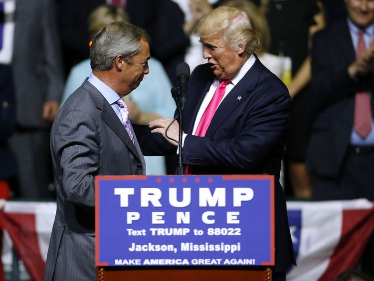 Nigel Farage appears on stage at a Donald Trump rally